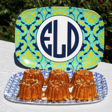 monogrammed platters mini bundt cakes paired with meandredesign s custom