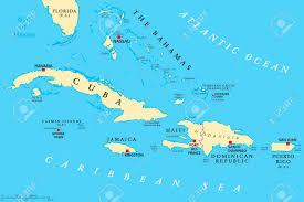 Map Of Puerto Rico Greater Antilles Political Map Caribbean Islands Cuba Jamaica