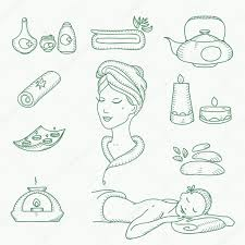 spa doodle hand drawn sketch icons set with towels aroma candles