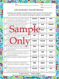 scientific notation color by numbers beginner and medium 8 2c tpt