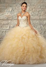gold quince dresses two tone ruffled tulle with beaded bodice quinceanera dress