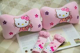 1 pair 27cm pink kitty cat flower plush car bone neck pillow