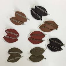 leather leaf necklace images Genuine leather leaf drop chain earrings shoppe3130 jpg