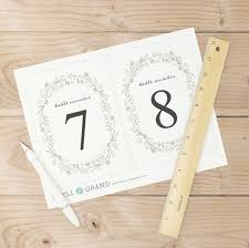 printable table numbers table number template floral wreath