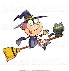 halloween clip art of a happy halloween witch and her black cat
