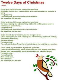 printable lyrics twelve days of christmas lyrics