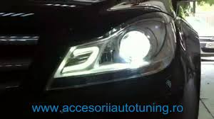 mercedes led headlights led headlights mercedes w204 c class 2007 2012 by kitt youtube