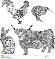 animals in ethnic ornaments stock vector image 48628641