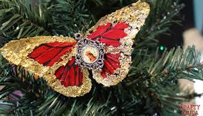 quintessentially christmas gilded butterfly ornaments crafty chica