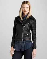 Burberry Brit Washed Leather Motorcycle Jacket In Black Lyst