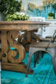 Aqua Dining Room by A Boho Farmhouse Dining Room Reveal One Room Challenge Week 6