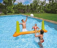 volleyball play game set fun backyard swimming pool water games