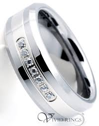 beveled ring 8mm men s tungsten carbide beveled edges cubic zirconia ring