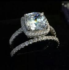 all diamond ring all sizes vvs1 3ct band set all sizes cushion cut diamond pt950