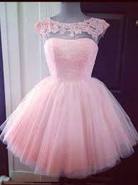 buy elegant bateau pink short tulle homecoming dress with