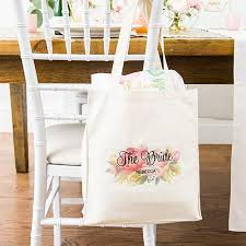 personalized white canvas tote bags the knot shop