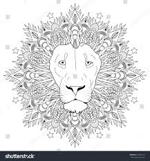 coloring page mandala lion head animal stock vector 419982178
