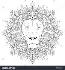coloring page mandala lion head animal imagem vetorial de banco