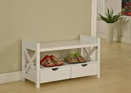 white wooden shoe holder bench with 2 drawers on the bottom