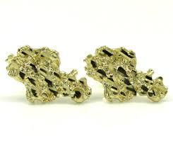 10k earrings yellow gold diamond cut small nugget earrings