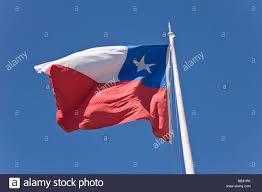 Chile Santiago Flag Chile Patagonia Punta Arenas Chilean Flag Waves Against Blue