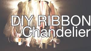How To Make A Fake Chandelier Diy Ribbon Chandelier How To Cover An Ugly Ceiling Light Youtube