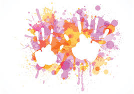 free child handprint on colorful splashes vector download free