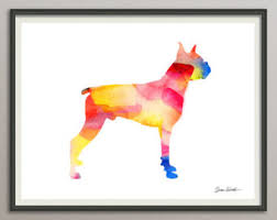 boxer dog wall art boxer dog art etsy
