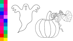 Halloween Pumpkins Coloring Pages Learn Colors For Kids With Halloween Pumpkin And Ghost Coloring