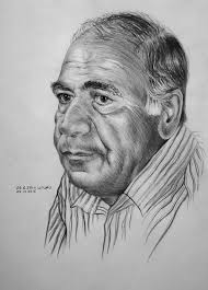 grandparent portrait pencil black and white art old man portrait