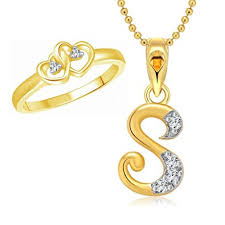 heart ring necklace images Buy vighnaharta dual heart ring with initial 39 39 s 39 39 letter pendant jpg