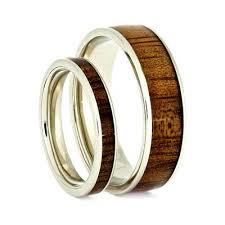 wood rings wedding wooden wedding ring set koa wood rings 14k white gold ring set