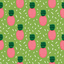pineapple fabric pink and lime tropical summer fruit fabric fabric