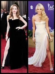 acm awards fashion carrie underwood embraces angelina jolie u0027s leg