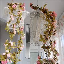 Fake Flowers For Home Decor Wedding Decoration Artificial Fake Silk Rose Flower Vine Hanging