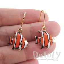 cd earrings orange and white stripe tropical fish shaped enamel dangle