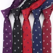 formal narrow size necktie groom gentleman ties men skull party