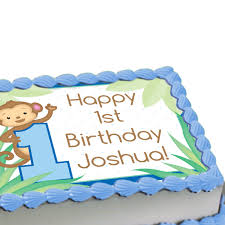 1st birthday boy monkey boy 1st birthday personalized edible image cake decoration