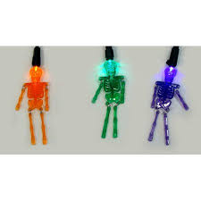 set of 20 purple orange and green led skeleton halloween lights