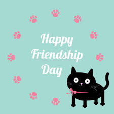 happy friendship day cat and paw print round frame template flat