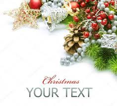 christmas decorations border design isolated on white u2014 stock