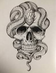black ink snake with skull design