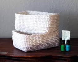 2 crochet baskets bathroom basket storage basket square