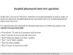 Hospital Pharmacist Resume Sample by Hospital Pharmacist Interview Questions