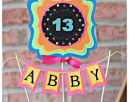 Neon Themed Decorations Neon Cake Topper Etsy