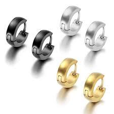 mens gold stud earrings aroncent 6pcs stainless steel hoop huggies stud