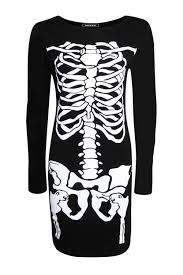 women ladies black skeleton skull dress for halloween party