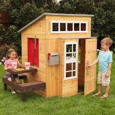 Wooden Backyard Playhouse Kidkraft Modern Outdoor Playhouse 182 Hayneedle