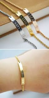customized gold bracelets personalized bar bracelet with gemstone link customized