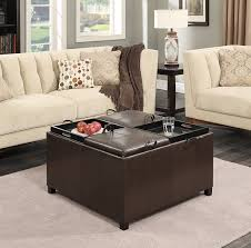 Leather Ottoman With Storage And Tray by Coffee Table Awesome Beige Ottoman Coffee Table Brown Ottoman